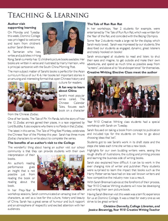 Dominic College Newsletter 4 March 2016