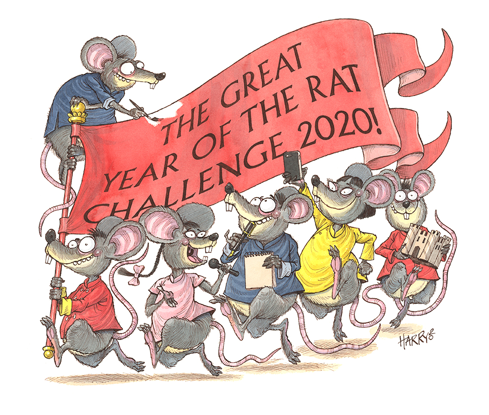 Great Year of the Rat Challenge 2020 cover illo