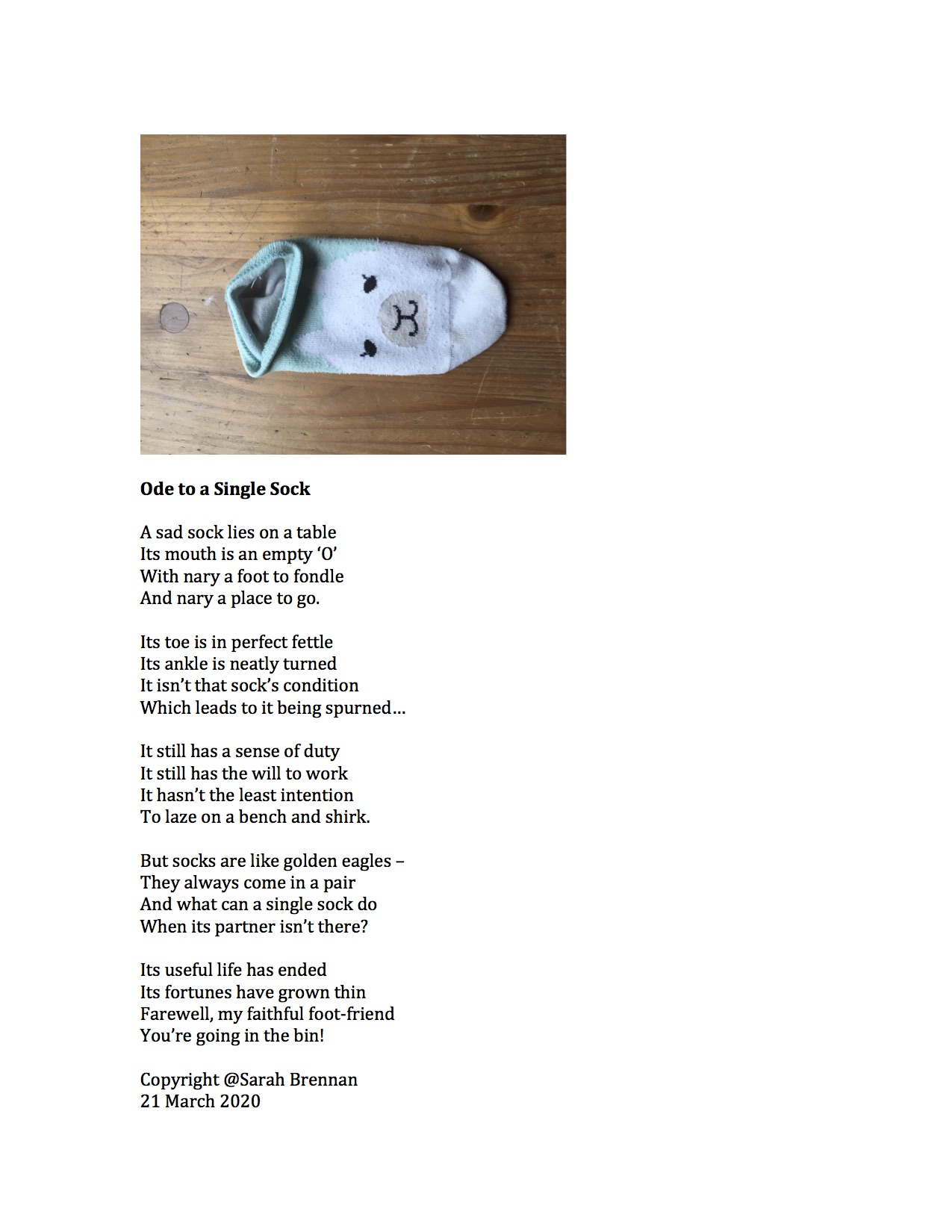 Ode to a Single Sock